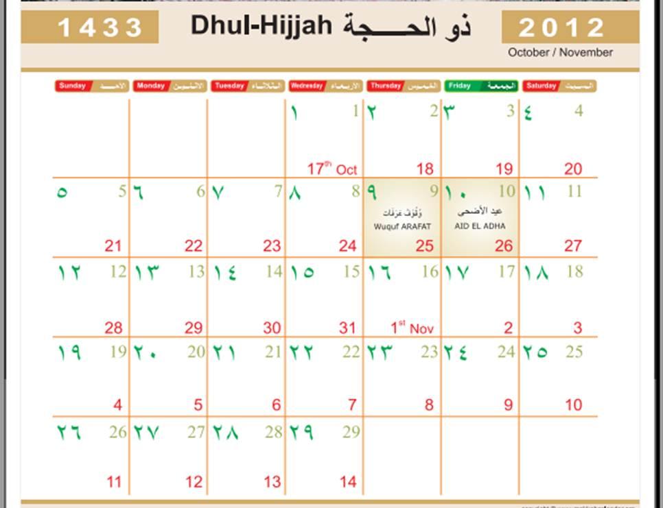 Kalender muslim 2012 M (1433 H)